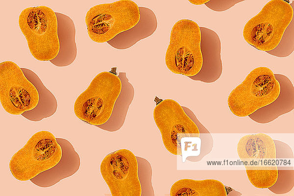 Pattern of halved butternut squashes