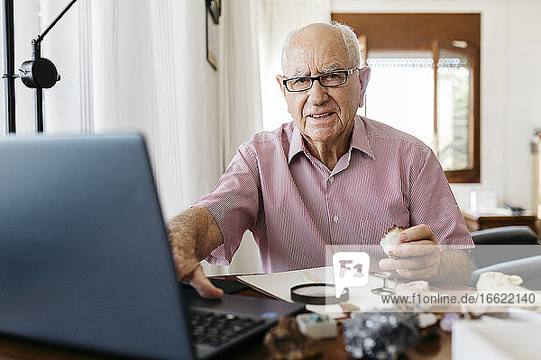 Retired senior man doing research on fossils and minerals while sitting with laptop at home