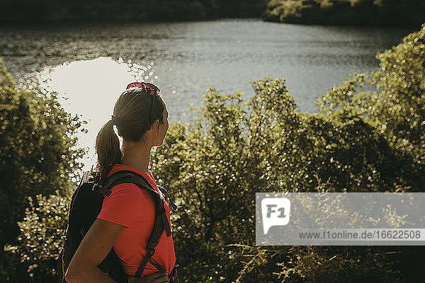 Trekker looking at view while standing at Sierra De Hornachuelos  Cordoba  Spain