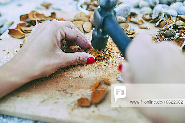 Hands of woman breaking almond husks with hammer