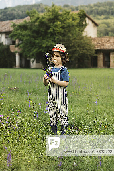 Boy wearing hat holding flower while standing on grass in meadow