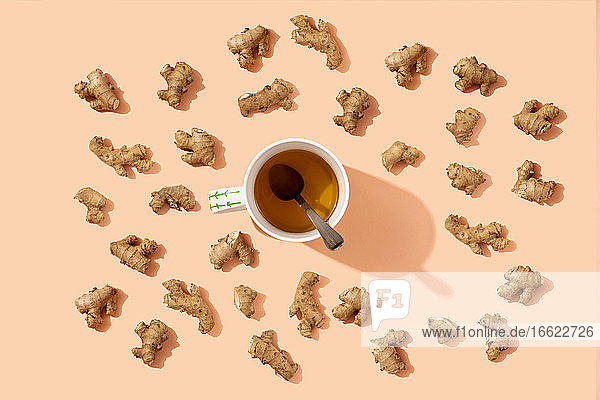 Studio shot of mug of herbal tea surrounded by ginger roots