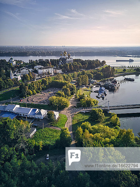 Aerial view of park at Strelka with Assumption Cathedral by Volga and Kotorosl river crossing  Yaroslavl  Russia