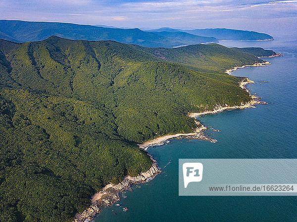 Russia PrimorskyKrai  Nakhodka  Aerial view of green coastal hills