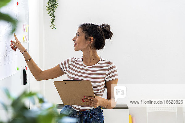 Smiling businesswoman pointing at whiteboard while holding clipboard in creative workplace