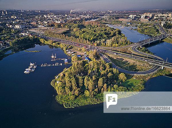 Aerial view of cars on bridge over Kotorosl River in Yaroslavl  Russia