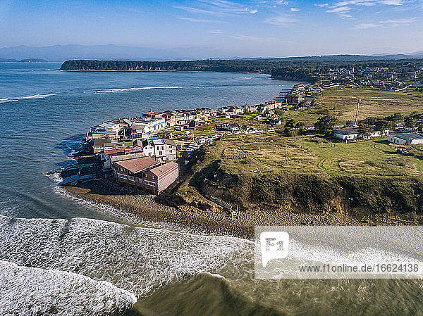 Russia  Primorsky Krai  Nakhodka  Aerial view of village on shore of Sea of Japan