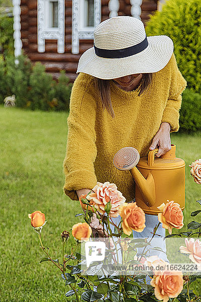 Woman with hat examining rose while standing at greenhouse