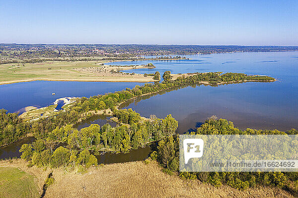 Germany  Bavaria  Drone view of shore of Lake Ammer nature reserve