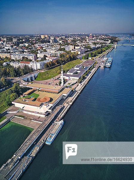 Aerial view of embankment at Volga River  Yaroslavl  Russia