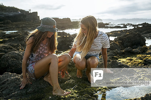Young women crouching by puddle on rock at beach during sunny day