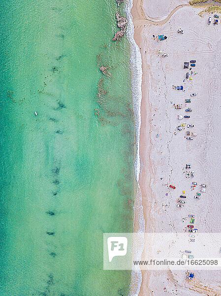 Aerial view of people relaxing at Triozerye beach