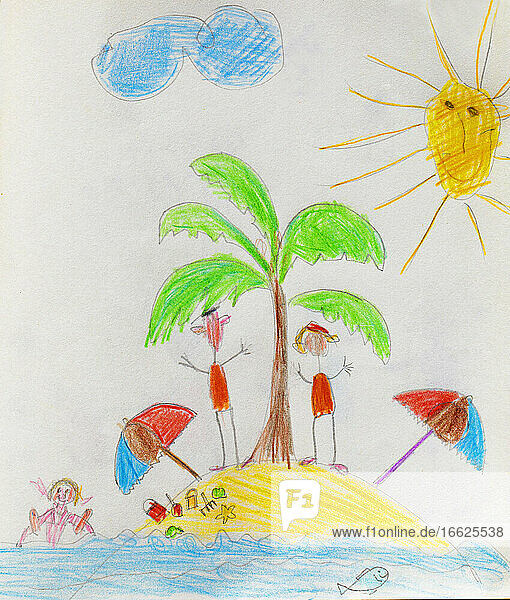 Child's drawing with family on desert island