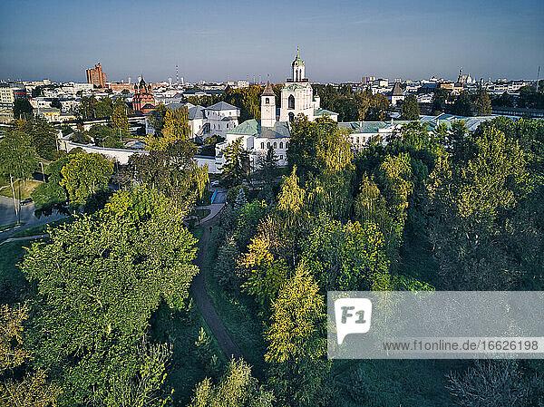 Aerial view of Yaroslavl Museum-Reserve and Spaso-Preobrazhensky Monastery  Yaroslavl  Russia