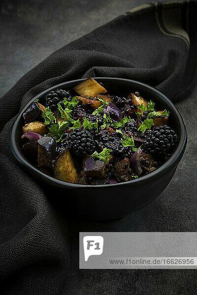 Studio shot of bowl of vegetarian salad with eggplant  Beluga lentils  Spanish onion  blackberries  vinaigrette and parsley