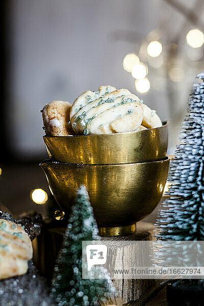 Christmas decorations and freshly baked lemon cookies