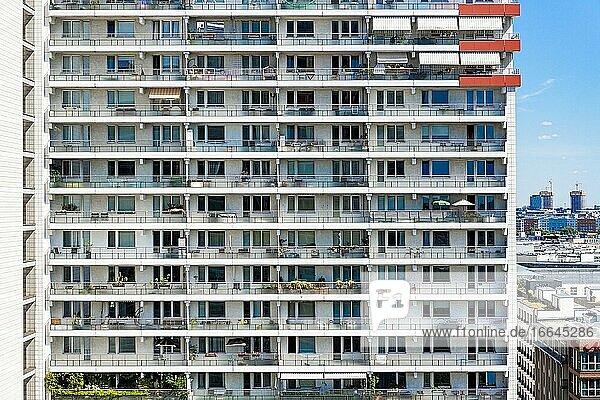 Berlin  Germany. East-German Plattenbau at Leipziger Strasse.