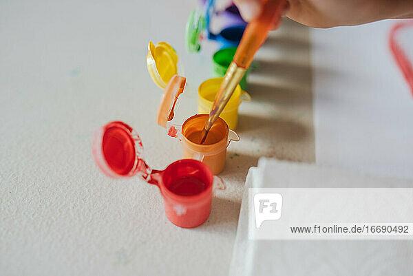 Child Finger Paint Rainbow Painting