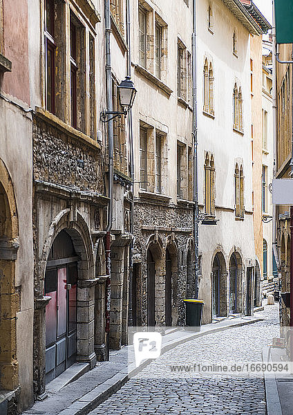 small street in the city centre of Lyon / France