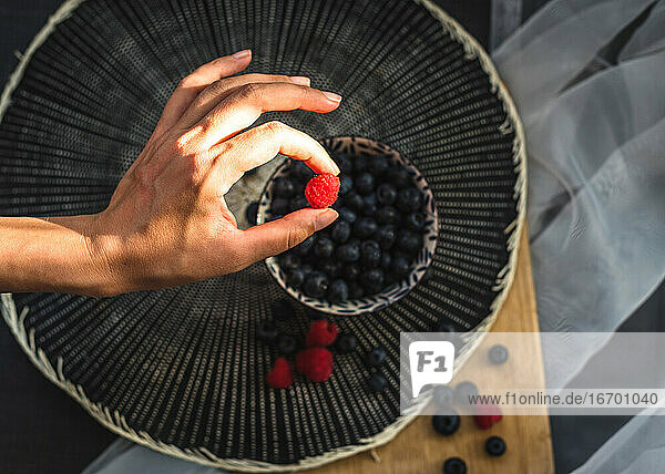 High view of a woman's hand holding a raspberry. Underneath is a little bowl more blueberries.