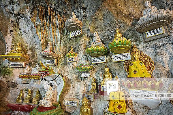 Buddha statues inside Pindaya caves  Pindaya  Myanmar