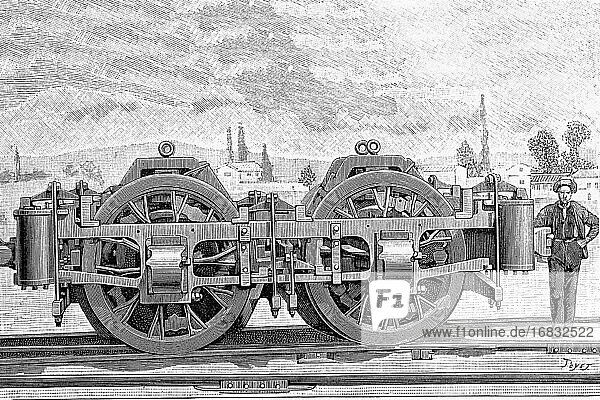 96 Ton. Electric locomotive from General Electric for the Baltimore Railroad Company. View of the trucks. Antique illustration. 1895.