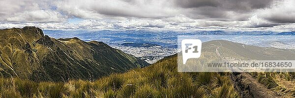 Path at the start of Pichincha Volcano with Quito in the background  Pichincha Province  Ecuador  South America