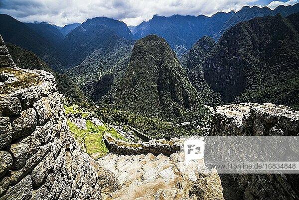 Machu Picchu Inca ruins  Cusco Region  Peru