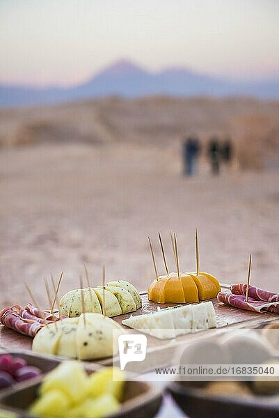 Food at the Alto Atacama sunset excursion to Luna Valley  Atacama Desert  North Chile