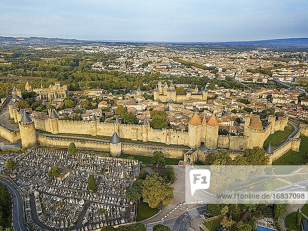 Aerial view of Carcassonne  medieval city listed as World Heritage by UNESCO  harboure d'Aude  Languedoc-Roussillon Midi Pyrenees Aude France.
