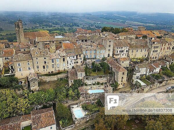 Aerial view of Cordes sur Ciel  labelled The Most Beautiful Villages of France  Tarn  Occitanie  France.