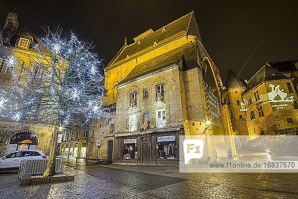 Nightscape in Christmas time Sarlat la Caneda a beautiful medieval town and one of the highlights to a visit to the Dordogne Perigord France on December 6  2018.
