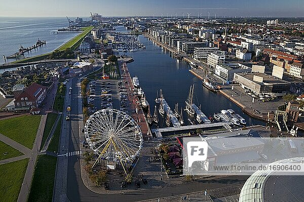 Havenwelten with Ferris wheel  aerial view  Bremerhaven  federal state Bremen  Germany  Europe
