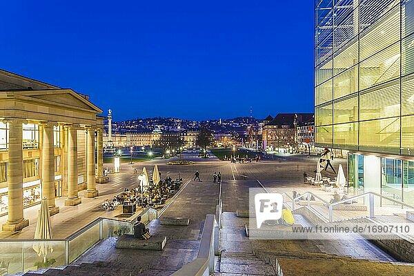 Königsbau and Museum of Art at Schlossplatz  City Centre  Stuttgart  Baden-Württemberg  Germany  Europe