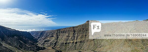 Panorama from Barranco de Erque with Table Mountain Fortaleza  drone shot  La Gomera  Canary Islands  Spain  Europe