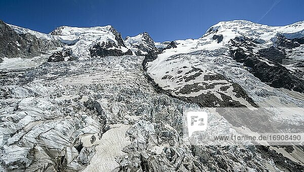 La Jonction  glacier tongue  Glacier des Bossons meets Glacier de Taconnaz  summit of Mont Maudit  Mont Blanc  Chamonix  Haute-Savoie  France  Europe