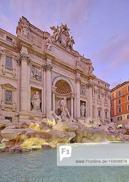 Illuminated Trevi Fountain  Fontana di Trevi  Rome  Italy  Europe