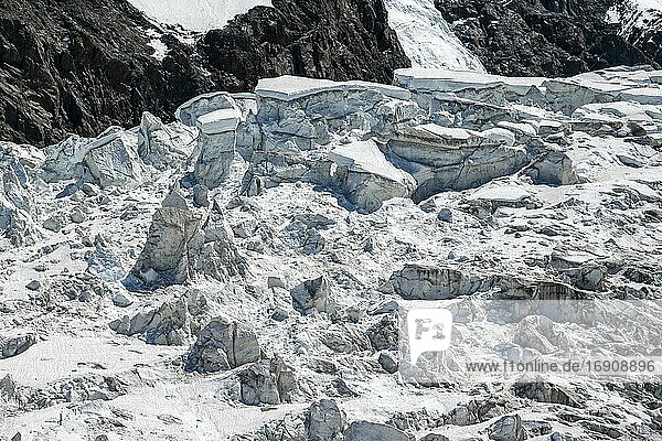Furrowed glacier ice  glacier tongue  detail  Glacier des Bossons  La Jonction  Chamonix  Haute-Savoie  France  Europe