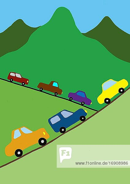 Naive illustration  children drawing  car traffic in the mountains  Austria  Europe
