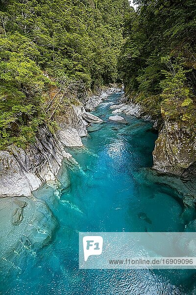 Blue Pools Rock Pool  Makarora River  turquoise crystal clear water  Haast Pass  West Coast  South Island  New Zealand  Oceania