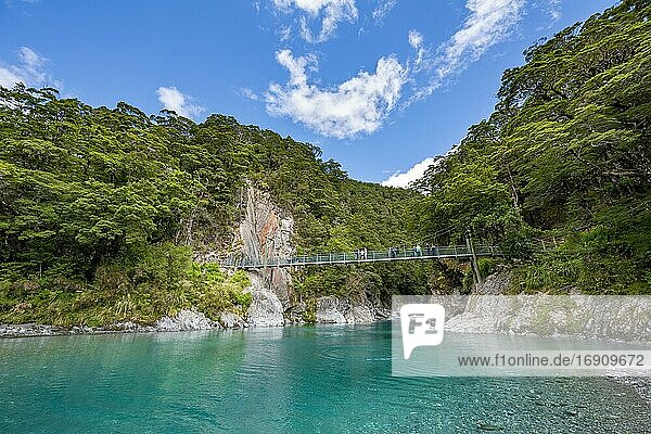 Suspension bridge at Blue Pools rock pools  Makarora River  turquoise crystal clear water  Haast Pass  West Coast  South Island  New Zealand  Oceania