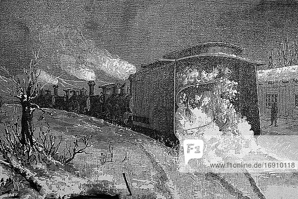 American apparatus for clearing snow from railways. Antique illustration. 1884.