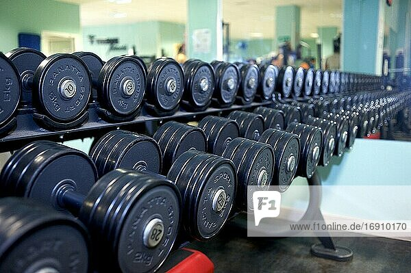 Side view of a dumbbell rack. Perspective focus