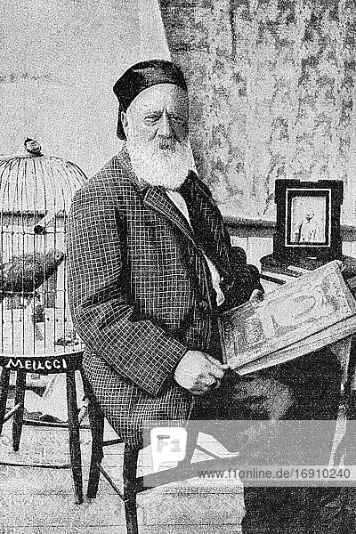 Antonio Meucci. Italian inventor  inventing a telephone-like device. 1808-1889. Antique illustration. 1899.