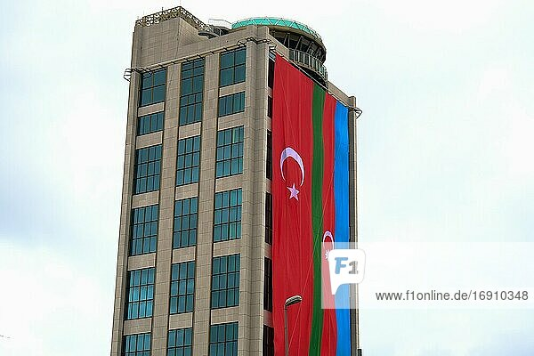 Corporate Building in Turkey with Turkish and Azerbaijani Flag.