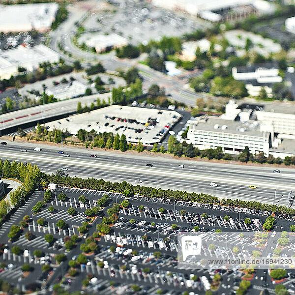 Aerial view of urban sprawl of San Francisco