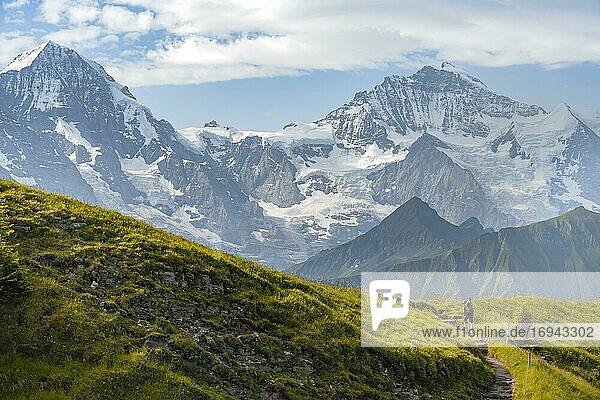 Wanderer auf Wanderweg  schneebedckten Berggipfel  Mönch  Jungfraujoch und Jungfrau  Gletscher Jungfraufirn  Jungfrauregion  Grindelwald  Bern  Schweiz  Europa