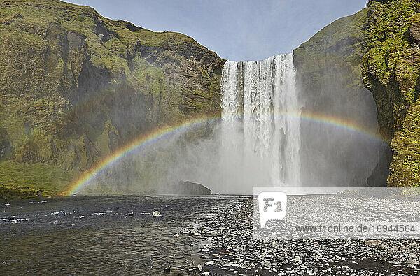 Ein permanenter Regenbogen in der Gischt des Wasserfalls  Skogafoss Falls  in der Nähe von Vik  Südisland  Polarregionen