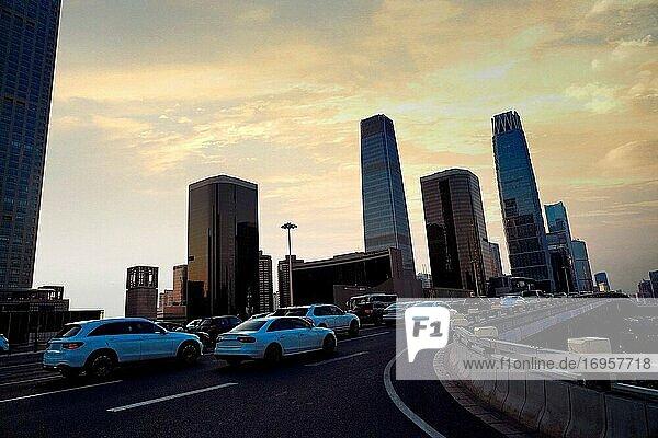 Beijing guomao CBD traffic