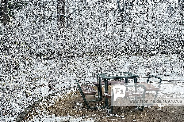 Chess table in a snow covered Retiro park. Madrid  Spain.